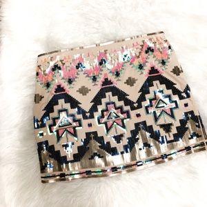 ~Express~ Sequin Aztec mini skirt